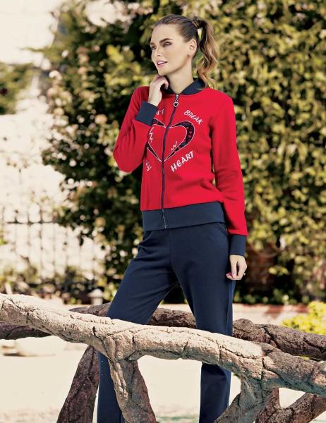 Mel Bee Fermuarlı Kadın Pijama Takımı Kırmızı MBP23634-1